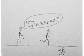two stick figure runners, one holding half their leg with a speech bubble asking erm, have you got a plaster?